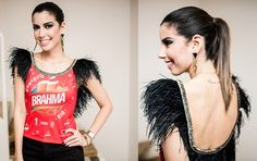 Looks Carnaval - Camila Coutinho Abada Carnaval Customização Plumas Glam - Le Fashion Quotidien Theatre Costumes, Refashion, Custom Clothes, Mascara, Ideias Fashion, Pajamas, Glamour, T Shirts For Women, Sewing