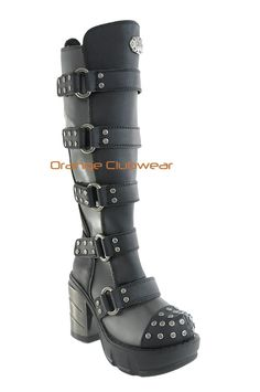 Demonia Sinister 302 Womens Gothic Knee Hi Industrial Cyber Rivet Goth Boots
