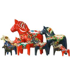 """Swedish Herd of Assorted-Size """"Dala"""" Wood Toy Horses by Nils Olsson 
