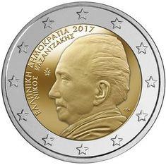 Moeda Comemorativa 2017 - Grécia 2017 - 60 anos em memória de Nikos Kazantzakis Euro Währung, Timbre Collection, Inspirational Quotes, Rock Lee, Coin, Europe, History, Old Coins, Seals
