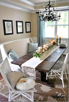 whole dining room fall. Would change the bench to backless and the chairs to non-wicker
