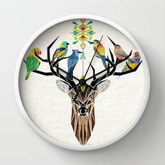 deer birds Wall Clock by Manoou - $30.00