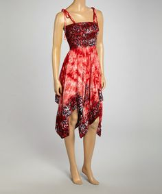 Another great find on #zulily! Red Tie-Dye Handkerchief Dress #zulilyfinds