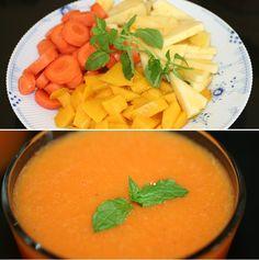 Mild mangojuice med gulerod, ananas og et strejf af mynte.