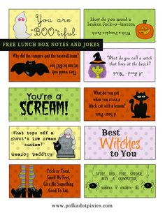 Polka Dot Pixies: {FREE HALLOWEEN LUNCH BOX NOTES and GIVEAWAY}