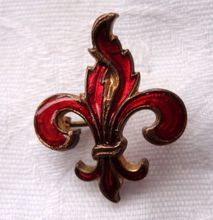 Victorian Red Enamel Fleur D Lis Pin from Best Kept Secrets on Ruby Lane