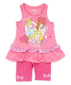 Loving this Pink Disney Princess Ruffle Tank & Shorts - Toddler on #zulily! #zulilyfinds