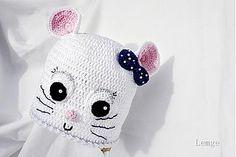 Detské čiapky - Biela myška -jar,jeseň - 3999675_