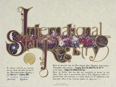 Edgar & Mildred Kraus - Cygnus - Name a Star : Buy a Star : International Star Registry : Order@ starregistry.com