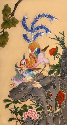 Folk art works on Lee Joungjoo Korean Painting, Japanese Painting, Botanical Drawings, Botanical Art, Korean Art, Asian Art, Japanese Wall Art, Contemporary Decorative Art, Korean Illustration