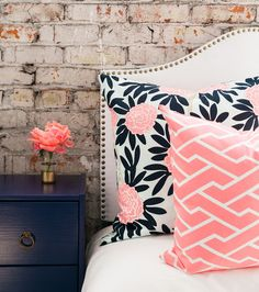 navy fleur chinoise pillow..pink and navy color combo, very pretty