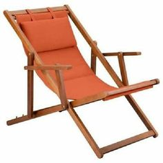 Perfect For Lounging Around Outdoors: Our Folding Deck Chair U0026 Ottoman. The  Folding Wood Chair Has An Attached Padded Headrest.