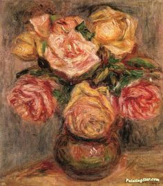 Roses Artwork by Pierre Auguste Renoir Hand-painted and Art Prints on canvas for sale,you can custom the size and frame