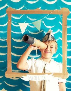 diy: make nautical party photo booth props for a nautical birthday party or a sailboat party Sailor Birthday, Sailor Party, Pirate Birthday, Sailor Theme, Boy Birthday, Party Deco, Octonauts Party, Nautical Party, Under The Sea Party