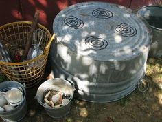 "Outdoor Play Kitchen. An excellent idea for dramatic play outside! This is fairly easy to make (can use water to draw the burners onto the piece of cement/rock) and use rocks, leaves, or any other materials found outside for ""food"" for a great dramatic play experience."