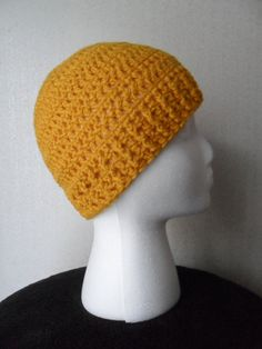Debbie Hat in Gold  Beanie Beenie Cloche Cap  by LilacsLovables, $18.00