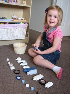 Busy Bag: Bottles and cap matching. Take a bunch of used bottles (washed, of course) and let children match the caps to the bottles. Added bonus? This is a self-correcting activity, so when they get to the end and all the caps don't match, they know they've made a mistake and can go back to find it.