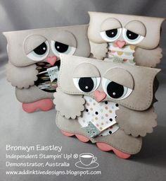 SAB Owls by BronJ - Cards and Paper Crafts at Splitcoaststampers - lmaybe make as ornaments - use holiday prints on tummy - hold a stocking.