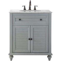 Hamilton 31 in. Vanity in Grey with Granite Vanity Top in Grey with White Basin