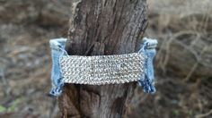 Denim Hinged Bling Bracelet by DenimReDooz on Etsy