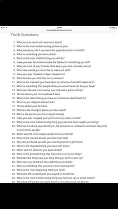 Truth questions for truth or dare Bored