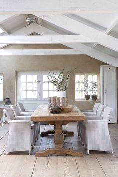 white beams. whitewashed floor.