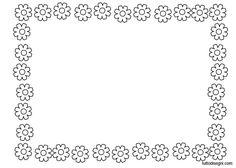 Cornicetta da colorare con i fiori Portfolio Covers, School Clipart, Borders And Frames, Floral Illustrations, Show And Tell, Stationery, Monogram, Clip Art, Printables