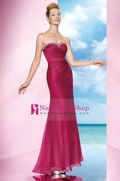 2014 Slim Beaded&Ruffled Sweetheart Neckline trumpet Chiffon Prom Dresses Floor Length