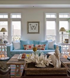 blue seaside inspired living room