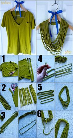 5aa1b63d539d72 Easy No-Sew T-Shirt Necklace. I have tried this and some T-shirts do not  curl. Double check material content BEFORE buying.