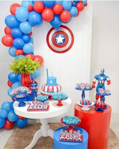 : Do you want to use balloons for decoration but don't know what to do with them? Here is our gallery of balloon decor ideas that will get your celebrations going. Captain America Party, Captain America Birthday, Boss Birthday Gift, Birthday Diy, Avengers Birthday, Superhero Birthday Party, Balloon Decorations, Birthday Party Decorations, Balloon Garland