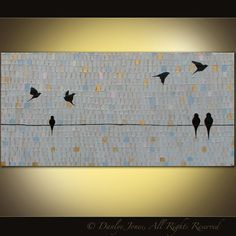 """***This listing is for a custom piece of your very own. Upon purchase, we will discuss the number of birds you'd like, and any custom changes you'd like. The piece will be ready to ship in two weeks from our last design conversation****    Original abstract painting by Danlye.    """"Birds on a Wire"""""""