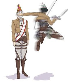 "Erwin Smith and Levi (( the first thing that comes to mind when I see this picture is ""Happy Birthday To The Ground!"" ))"