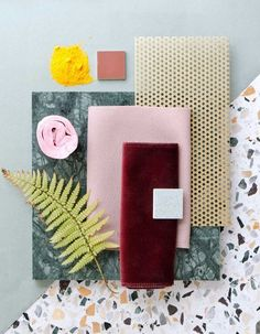 What do you think of the comeback of terrazzo finish? The terrazzo trend started last year, to explode this year both in interiors and design Color Palette For Home, Material Color Palette, Mood Board Interior, Moodboard Interior Design, Interior Ideas, Interior Design Boards, Interior Design Presentation, Presentation Boards, Material Board