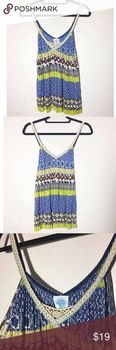 "Free People boho crochet floral tank top M Very vintage, bohemian looking tank top. Super cute with flare jeans and platform espadrille sandals. Very soft and flowy. Approx 44"" bust, (measurement was taken lying flat then doubled), 27"" length. ✅offers❌trades/PP 💰make an offer on bundles Free People Tops Tank Tops"