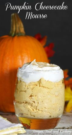 Pumpkin Cheesecake Mousse - Creamy and dreamy pumpkin cheesecake mousse, made with a few simple ingredients! - Recipes Food and Cooking: Creamy and dreamy pumpkin cheesecake mousse, made with a few simple ingredients! Pumpkin Recipes, Fall Recipes, Holiday Recipes, Cooking Pumpkin, Pumpkin Dishes, Vegan Pumpkin, Holiday Treats, Thanksgiving Recipes, Sweet Recipes