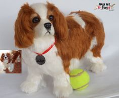 Custom Needle Felted Dog Cavalier King Charles Spaniel Sculpture Pet replica stuffed dog Memory Pet Portrait Wool figurine Wool art toys