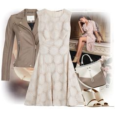 Soft Focus by musicfriend1 on Polyvore featuring Ermanno Scervino, IRO, Chloé, Mulberry, Maya Magal, Phyllis + Rosie, Wedges, leatherjacket, twocolorbag and florallacedress