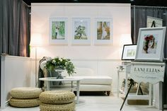 Lani Elias Wedding Show Booth - Love this light airy feel, would match my branding perfectly. Would instead use much larger canvas and remove all furniture