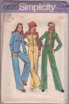 MOMSPatterns Vintage Sewing Patterns - Simplicity 6620 Vintage 70's Sewing Pattern SUPER FLY Roller Boogie Western Yoked Denim Jean Jacket, Fly Front Piping Trim Jeans, Pants