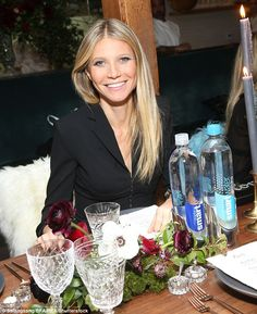 Natural beauty: The mum-of-two wore her sleek locks straight down. For make-up, Gwyneth played up her coloured eyes with dark shadow
