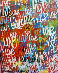 ORIGINAL large love abstract street art by ChrisRiggsArtGallery, $999.00