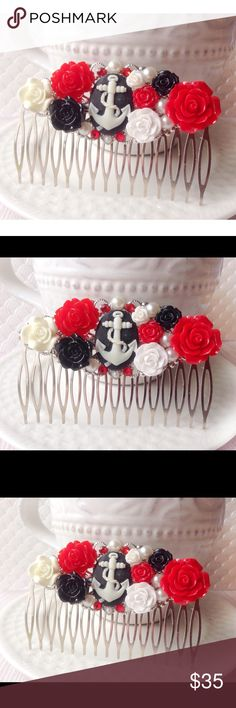 """Nautical Rose & Anchor Hair Comb This stunning hair comb feathers black, white and red roses, sparkly red rhinestones, faux white pearls, and a black & white anchor cameo for the center. Hair comb is silver filigree. Measures 3"""" wide X 2"""" tall. Hair combs can be worn for several occasions. Would make a lovely hair accessory for a black & red wedding, or just simply because you love anything nautical❤️⚓️ Handmade by me and brand new. TAGS••• Beach, Summer, Ocean, Pinup, Vintage, Rockabilly…"""