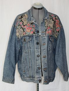 Vintage Levi Denim Jacket with Flower Print Inserts, 1970's, Style 70507 4890. $35.00, via Etsy.