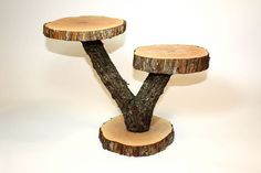 "Rustic 2-Tier Cake Stand, Cupcake Stand, Serving Platter, Dessert Bar, 15"" tall, 20"" wide, 2 elm tree slices and tree branch"
