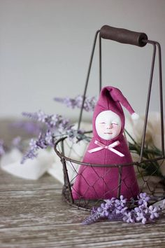 Lavender filled art doll. Crib decor, Provence farmhouse lavender decoration. Mauve nursery decor, Baby shower gift