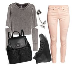 """""""Untitled #1611"""" by moria801 ❤ liked on Polyvore featuring H&M, Tory Burch and Converse"""