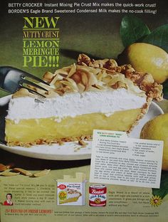 Borden's Eagle Brand Condensed Milk ad with recipe for Nutty Crust Lemon Meringue Pie    Woman's Day - February 1962