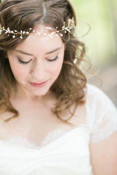 Beaded hair wreath / headpiece by copperclover.com / Photography by abbyrosephoto.com
