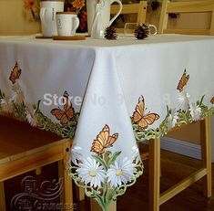 Cheap tablecloth holder, Buy Quality tablecloth pvc directly from China tablecloth and chair cover Suppliers: Embroidered tablecloth talbe cover size: 2014 Cutwork Embroidery, Hand Embroidery Flowers, Machine Embroidery, Diy Crafts Images, Cheap Tablecloths, Cloth Table Covers, Floral Tablecloth, Burlap Table Runners, Linens And Lace